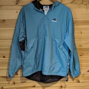 Adidas Blue and Brown Pullover Windbreaker